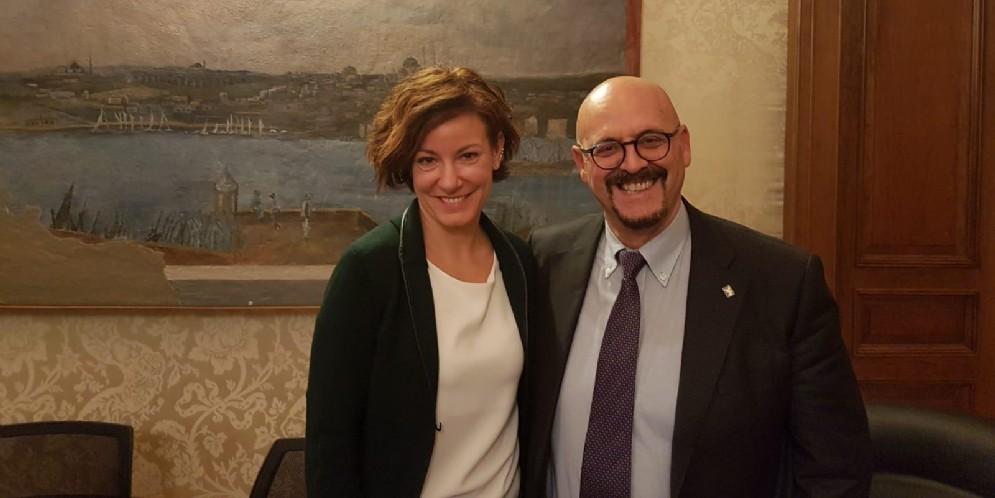 Il Ministro Paola Pisano con l'Assessore Sebastiano Callari