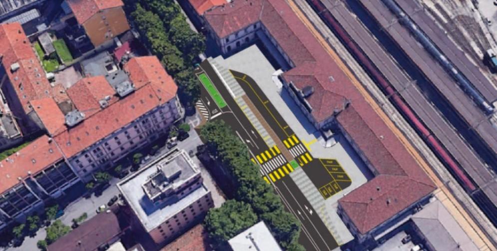Cambia volto il piazzale davanti alla stazione dei treni