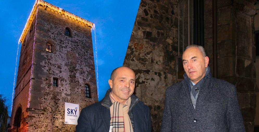 La torre di Porta Villalta illuminata grazie a Sky Gas&Power