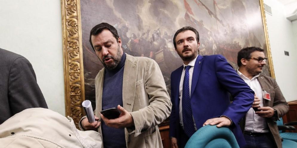 Il Capogruppo della Lega alla Camera, Riccardo Molinari con Matteo Salvini