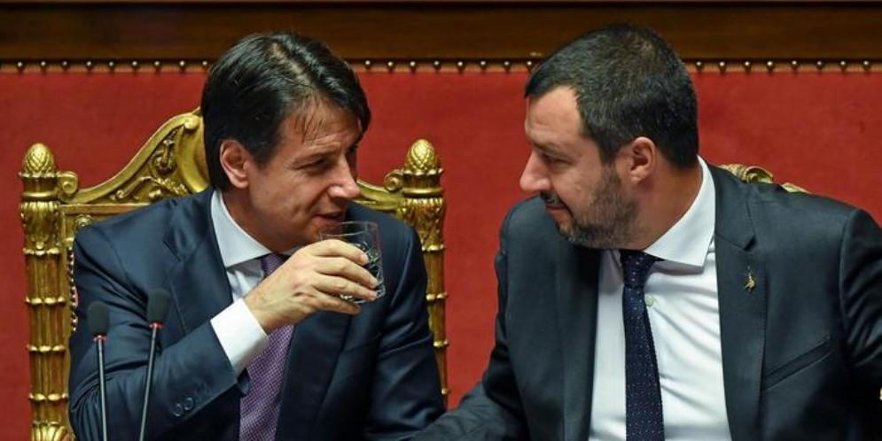 Il Premier Giuseppe Conte con l'ex Ministro dell'Interno, Matteo Salvini