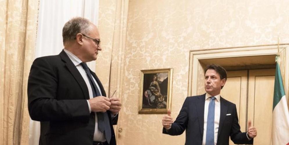 Il Ministro Roberto Gualtieri con il Premier, Giuseppe Conte