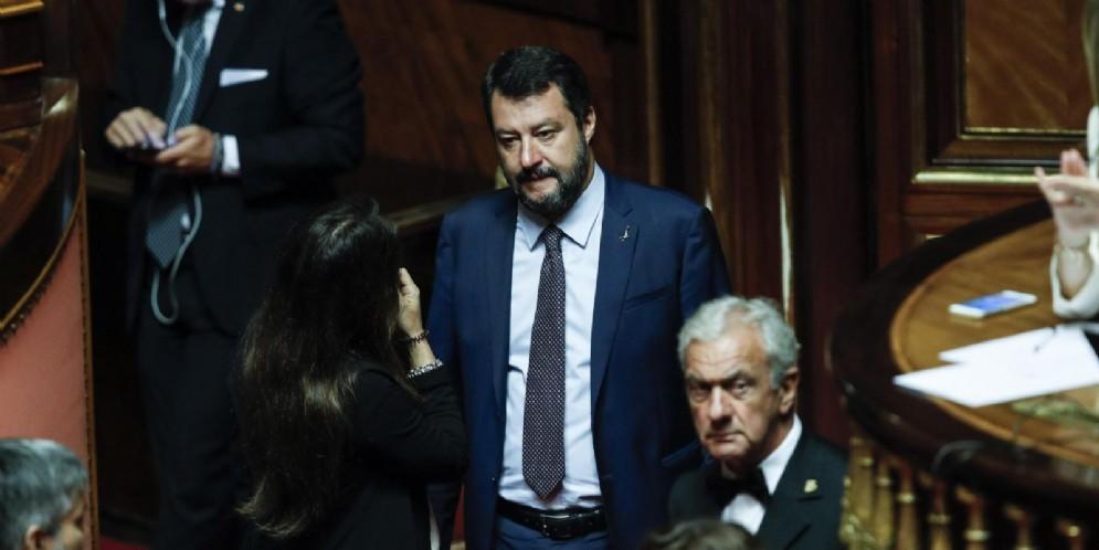 Il leader della Lega, Matteo Salvini, in Senato