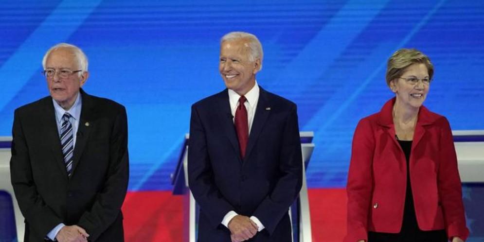 Bernie Sanders, Joe Biden ed Elizabeth Warren