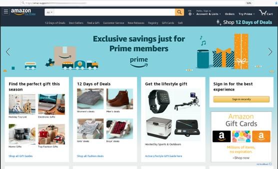 Esempio di una phishing page di Amazon