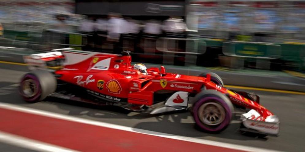 Una Ferrari durante un Gran Premio di Formula 1
