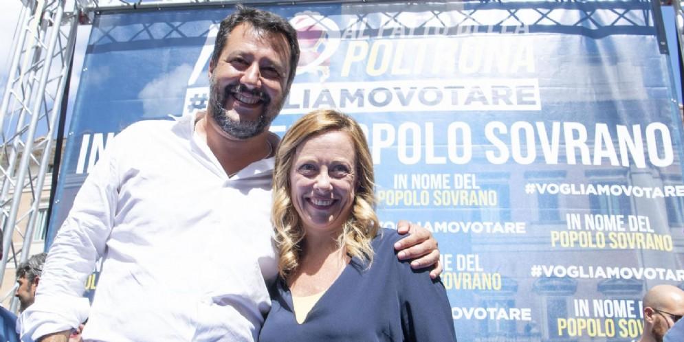 Matteo Salvini con Giorgia Meloni