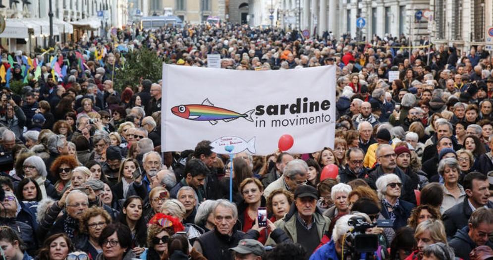 Manifestazione delle sardine a Roma