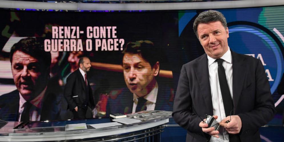 Matteo Renzi, leader di Italia Viva durante la registrazione di «Porta a Porta»