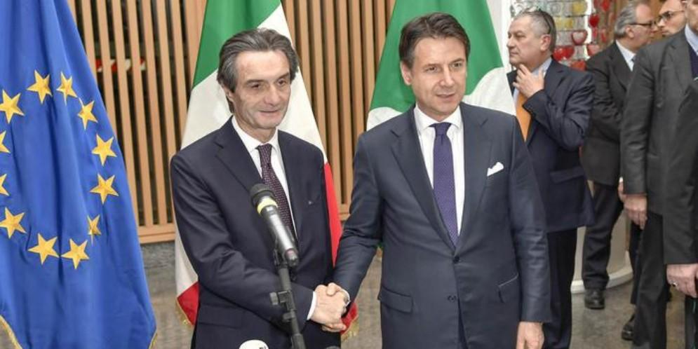 Il Presidente della Regione Lombardia, Attilio Fontana con il Premier Giuseppe Conte