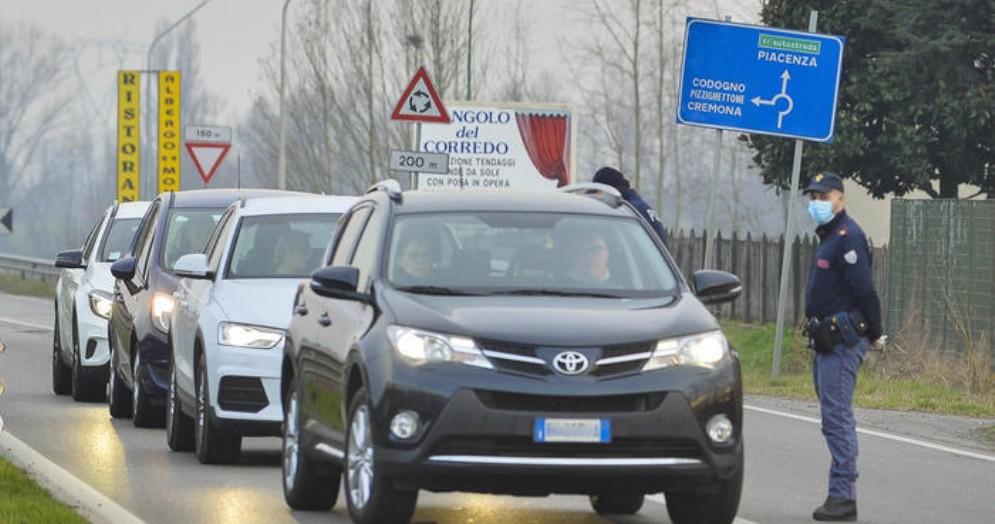 Controlli della Polizia nella zona di Codogno
