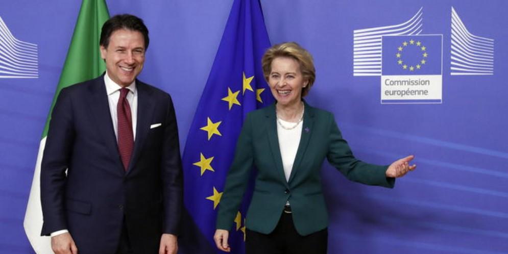 Il Premier Giuseppe Conte con il Presidente della Commissione UE, Ursula von der Leyen