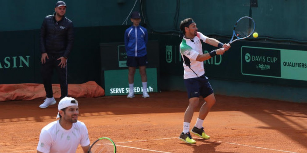 La coppia azzurra Simone Bolelli e Fabio Fognini durante il doppio