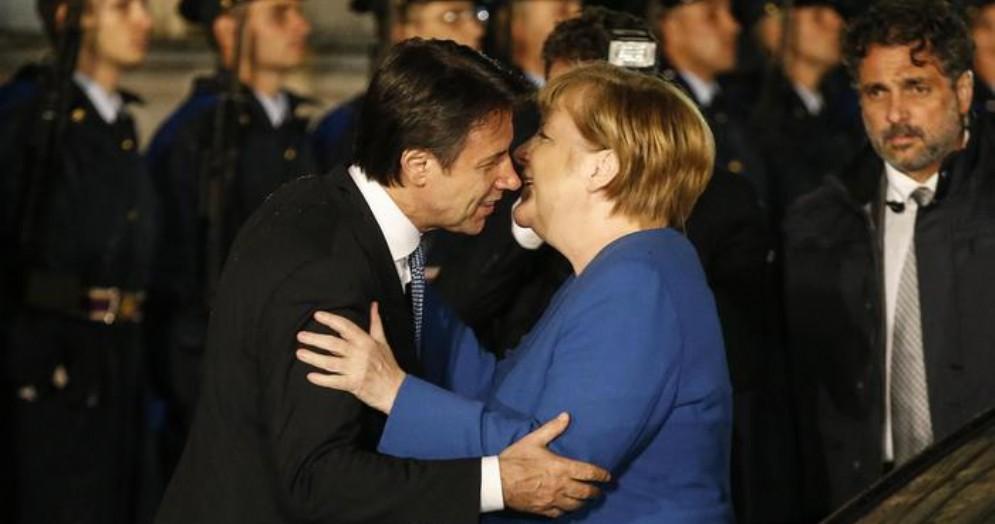 Il Premier Giuseppe Conte con la Cancelleria tedesca, Angela Merkel