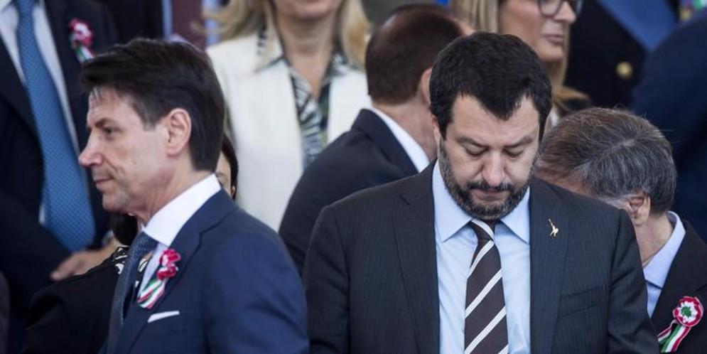 Il Premier Giuseppe Conte con l'ex Ministro e leader della Lega, Matteo Salvini