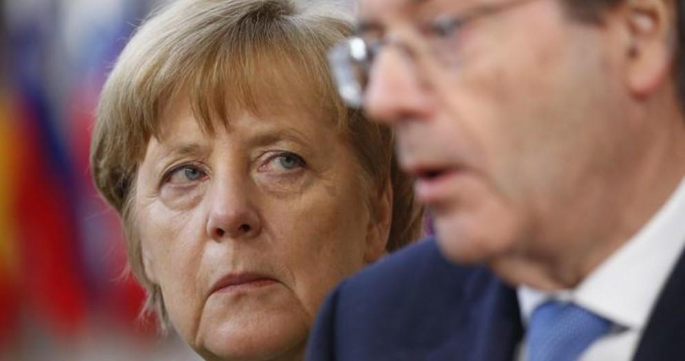 La cancelliera tedesca, Angela Merkel con il commissario europeo, Paolo Gentiloni
