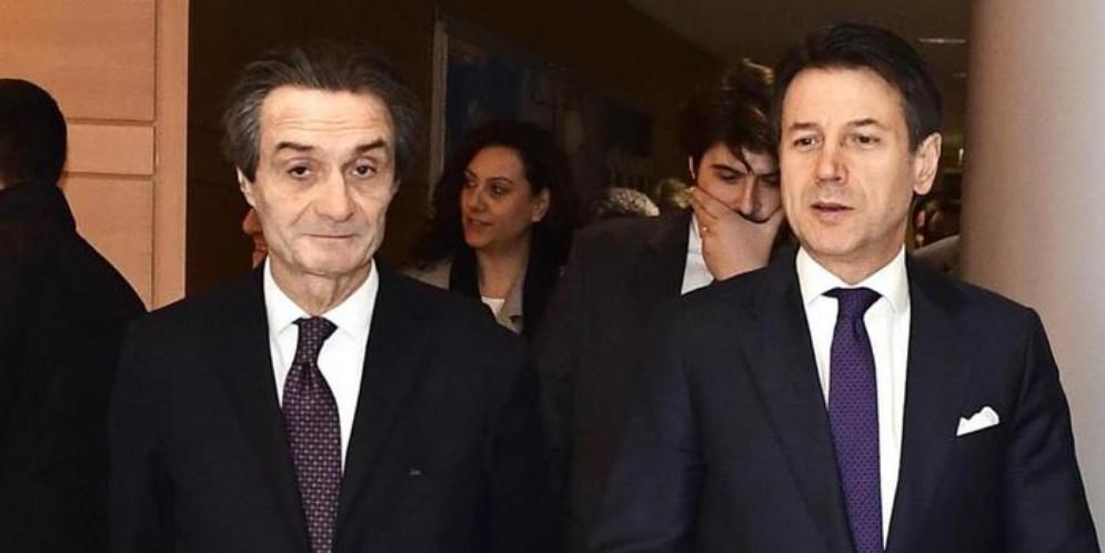 Il Presidente della Regione Lombardia, Attilio Fontana con il Presidente del Consiglio, Giuseppe Conte