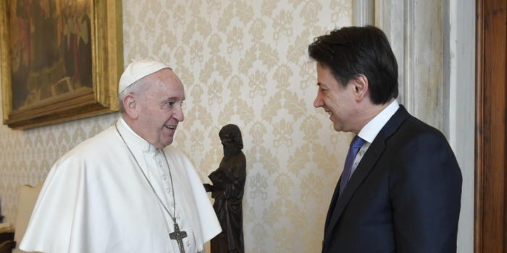 Papa Francesco con il Premier, Giuseppe Conte