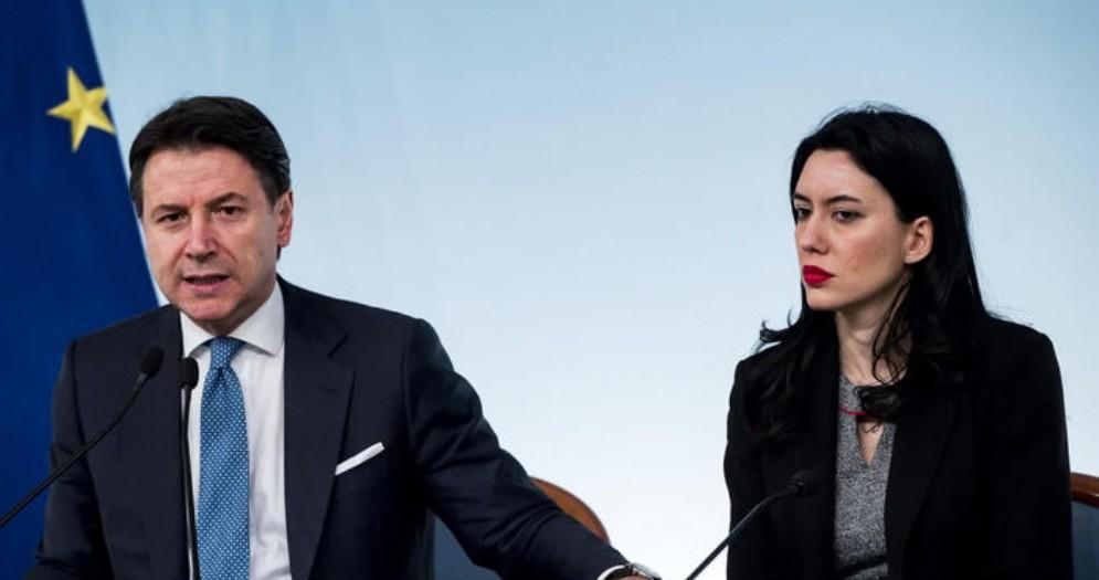 Il Presidente del Consiglio, Giuseppe Conte con il Ministro dell'Istruzione, Lucia Azzolina