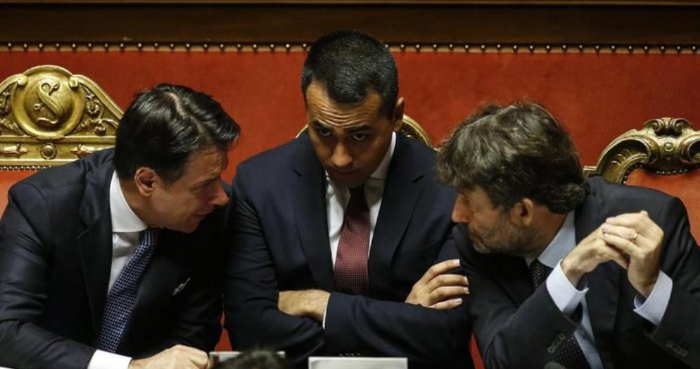 Giuseppe Conte, Luigi Di Maio e Dario Franceschini
