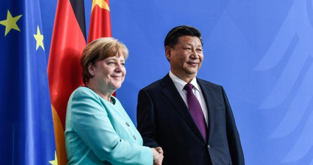 La Cancelliera tedesca, Angela Merkel con il Presidente cinese, Xi Jinping