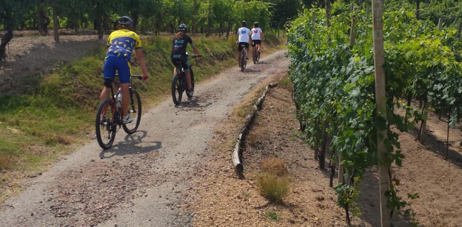 Escursionisti in bicicletta