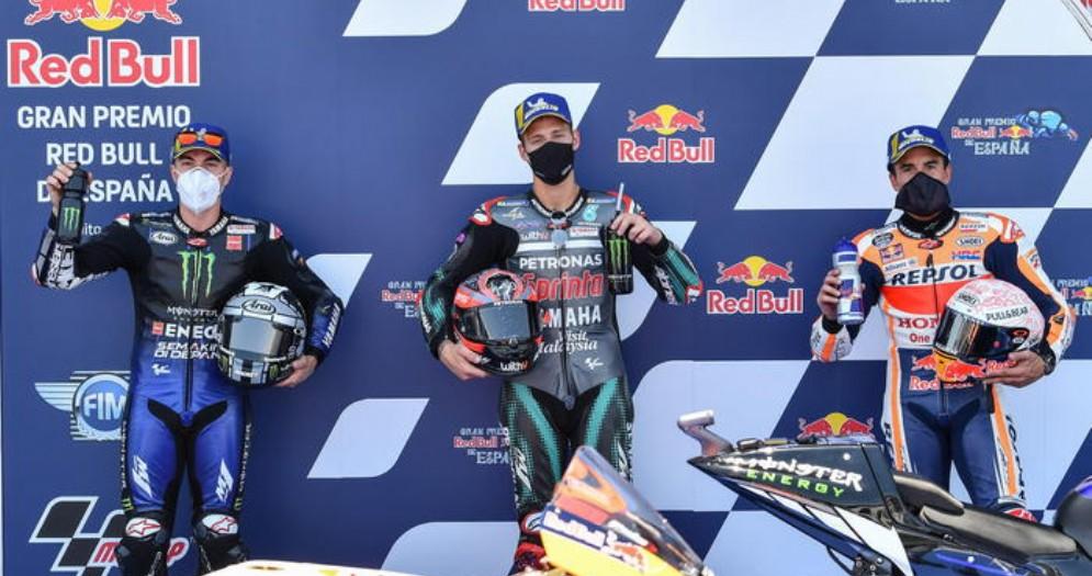 Maverick Vinales, Fabio Quartararo e Marc Marquez dopo le qualifiche MotoGP di Jerez 2020
