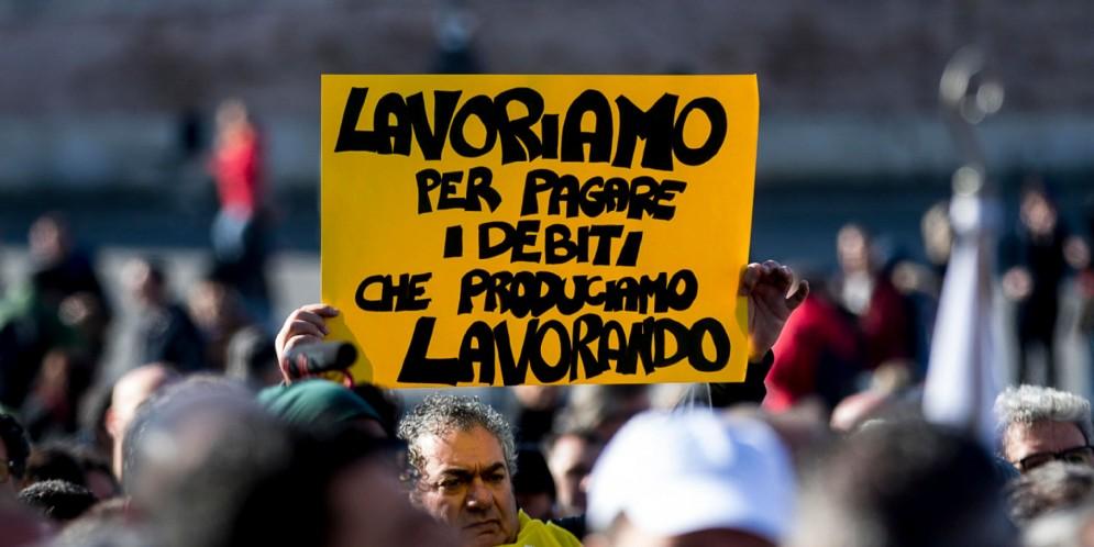 Un momento della manifestazione delle Partite Iva in piazza del Popolo, Roma
