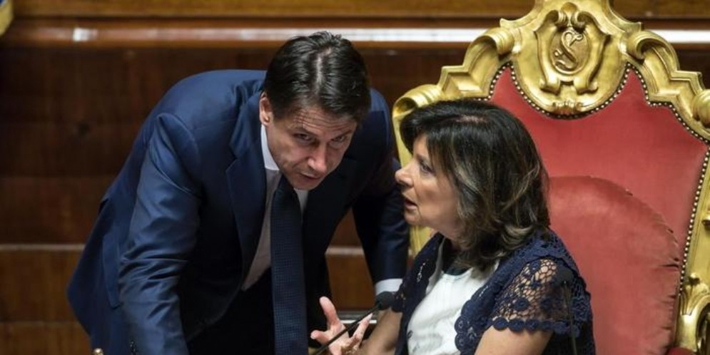 Il Presidente del Consiglio, Giuseppe Conte a colloquio con il Presidente del Senato, Maria Elisabetta Casellati