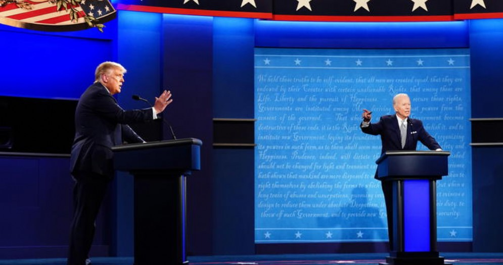 Il Presidente Donald Trump con Joe Biden
