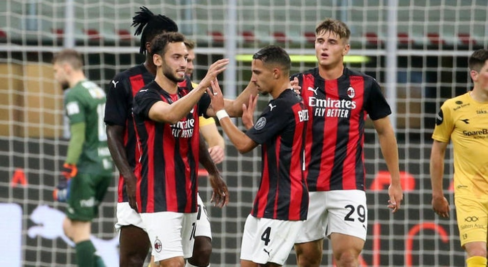 Esultanza dei giocatori Milan