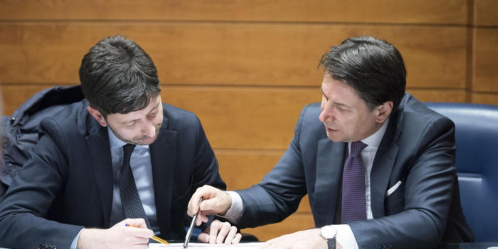 Roberto SPERANZA, Ministro della Salute con il Presidente del Consiglio, Giuseppe CONTE