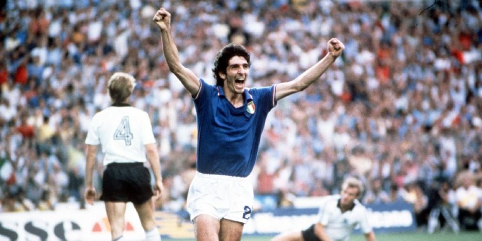 L'esultanza di Paolo Rossi dopo il goal nella finale dei mondiali del 1982