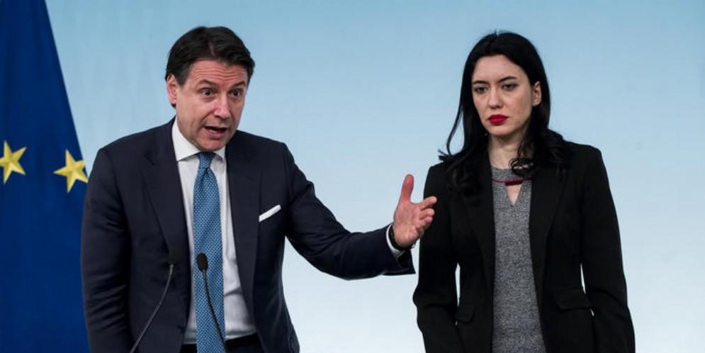 Il Presidente del Consiglio Giuseppe CONTE con Lucia AZZOLINA, Ministro dell'Istruzione
