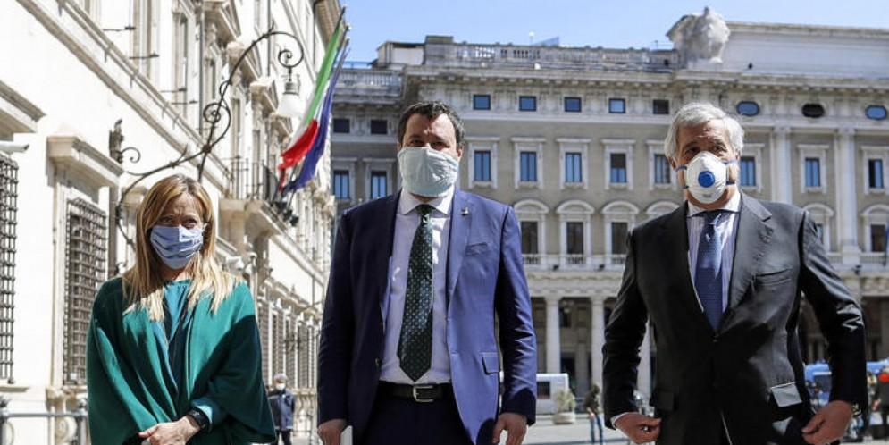 Giorgia Meloni (FDI), Matteo Salvini (LEGA) e Antonio Tajani (FORZA ITALIA)