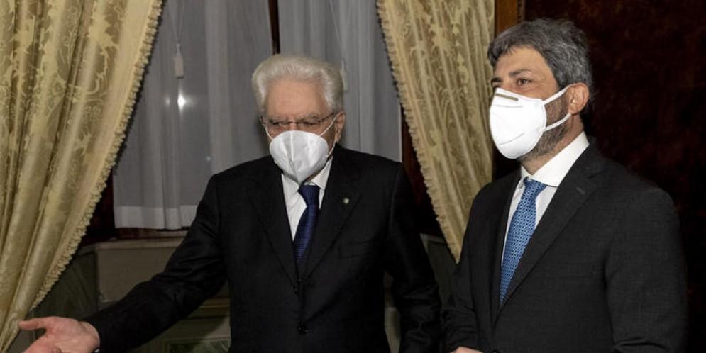 Il Presidente della Repubblica, Sergio Mattarella con il Presidente della Camera, Roberto Fico