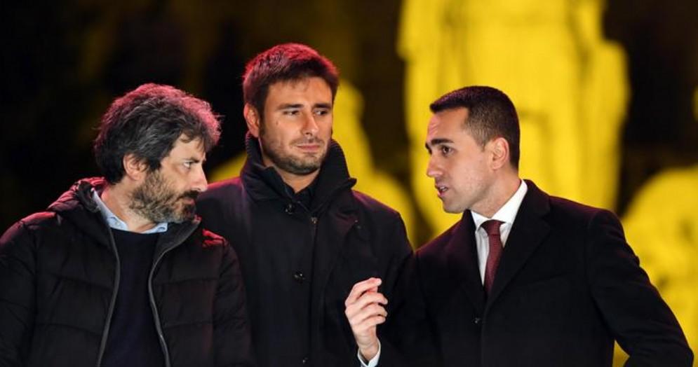 Da sinistra: Roberto Fico, Alessandro Di Battista e Luigi Di Maio