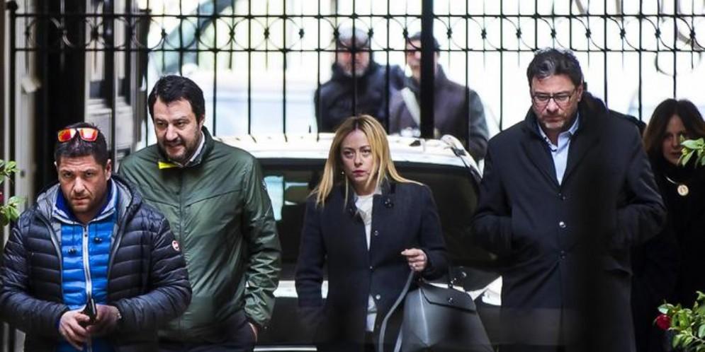 Da sinistra: Matteo Salvini, Giorgia Meloni e Giancarlo Giorgetti