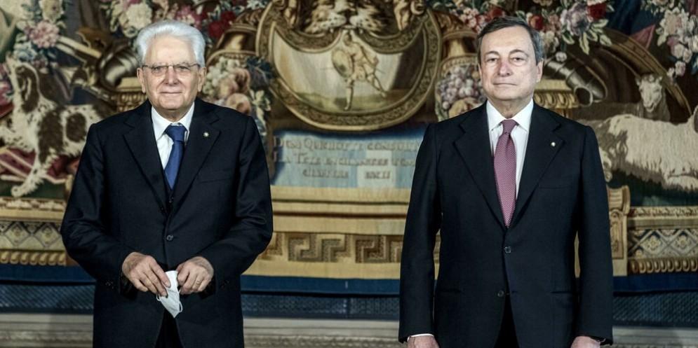 Il Presidente della Repubblica, Sergio Mattarella con il Presidente del Consiglio, Mario Draghi