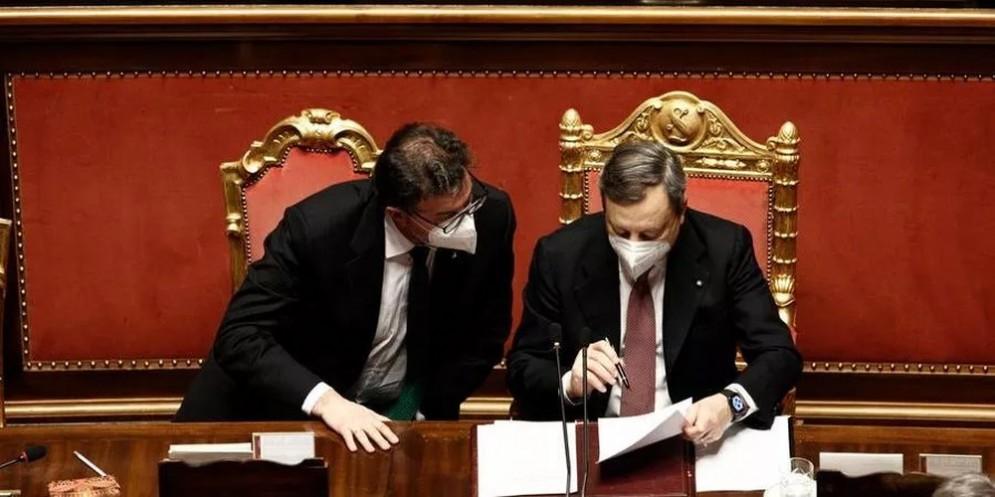 Il Ministro Giancarlo Giorgetti con il Presidente del Consiglio, Mario Draghi