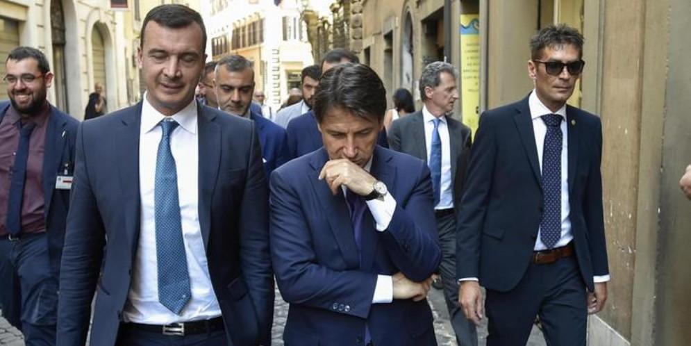 Rocco Casalino con l'ex Premier, Giuseppe Conte
