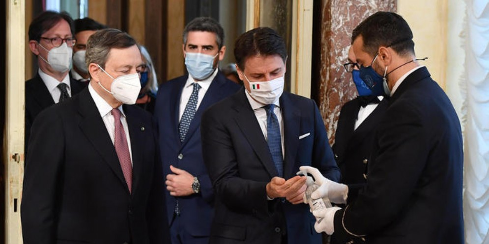 Mario Draghi con Giuseppe Conte a Palazzo Chigi