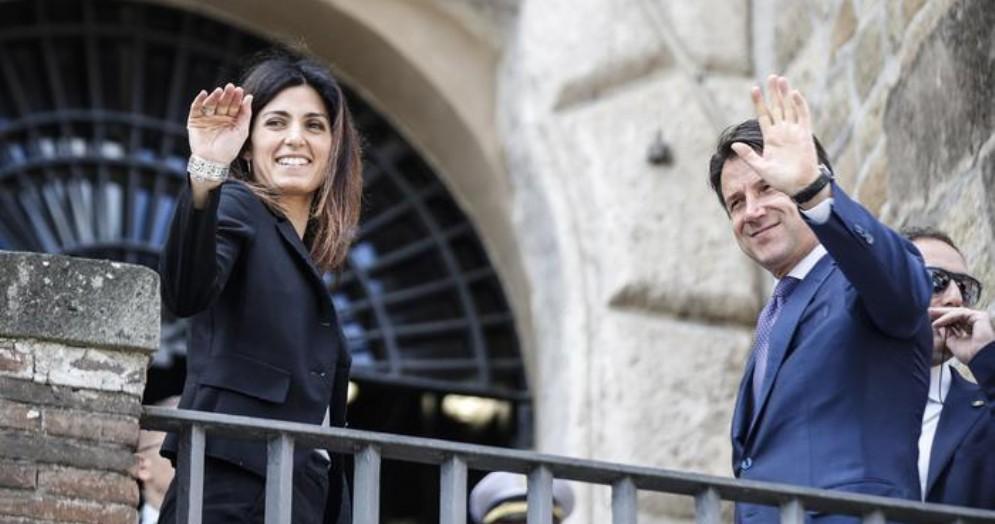 Il Sindaco di Roma, Virginia Raggi con l'ex Premier, Giuseppe Conte