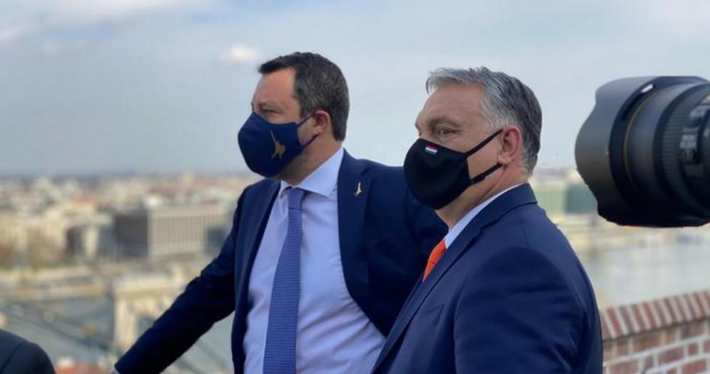 Matteo Salvini con Viktor Orban