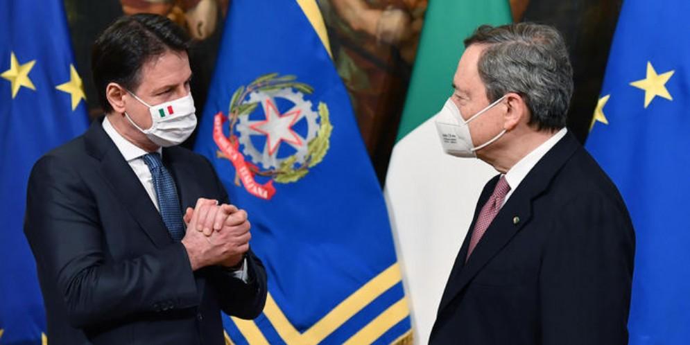 Giuseppe Conte con il Presidente del Consiglio, Mario Draghi