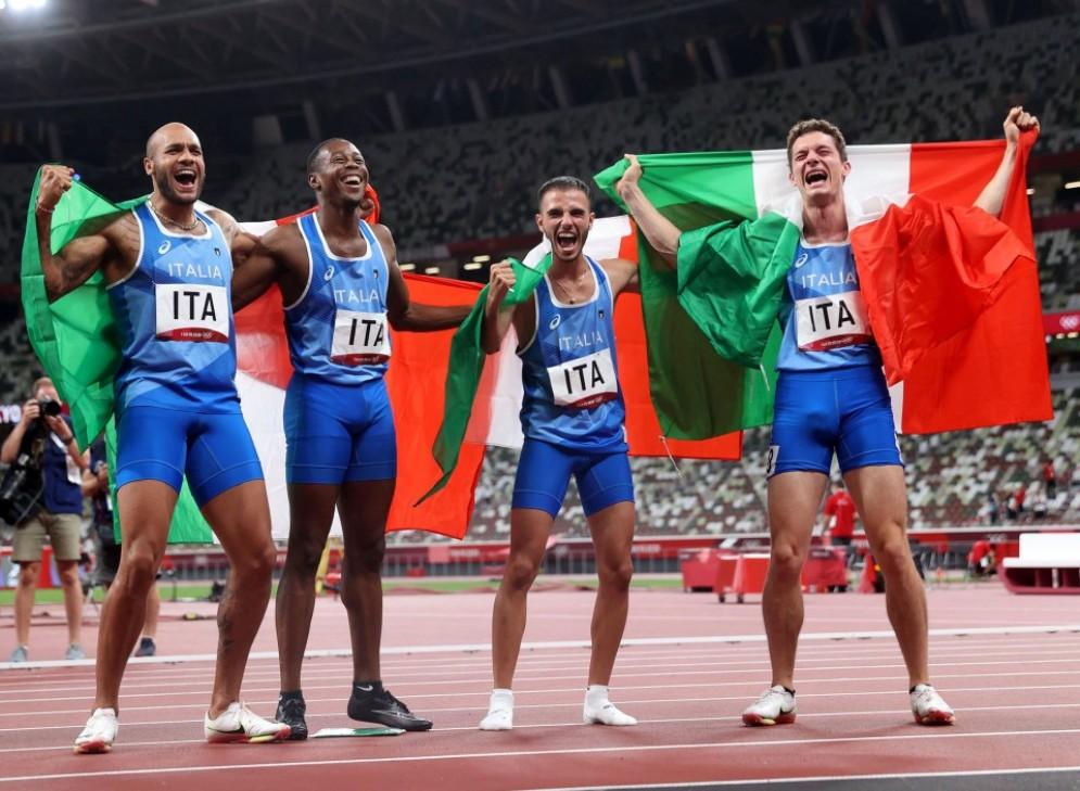 La staffetta italiana della 4x100, campione olimpica a Tokyo 2020