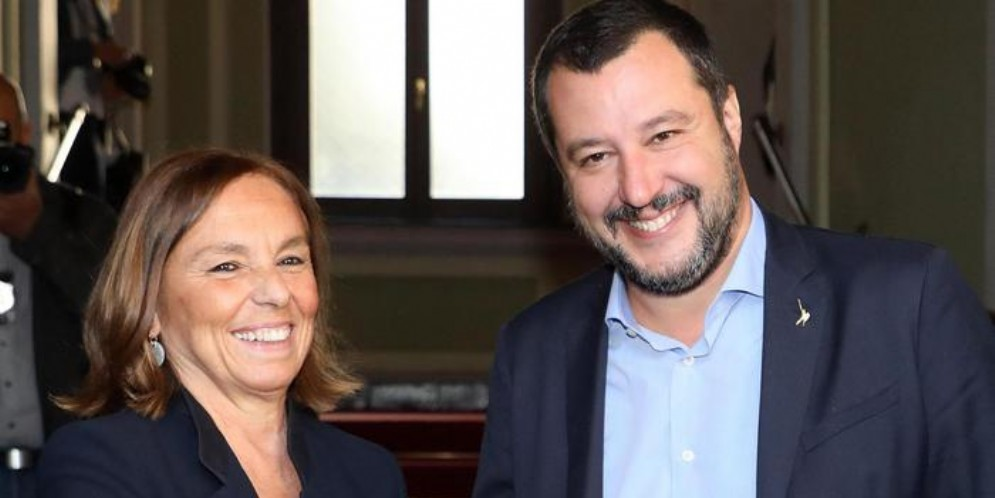 Il Ministro dell'Interno, Luciana Lamorgese con il leader della Lega, Matteo Salvini