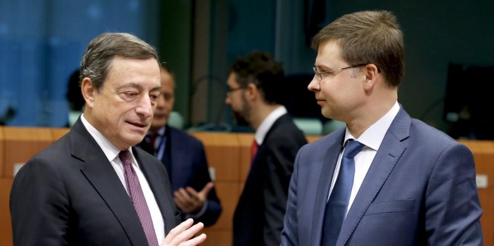 Il Premier Mario Draghi a colloquio con Valdis Dombrovskis, vicepresidente della Commissione UE