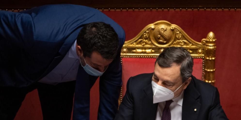 Matteo Salvini con il Presidente del Consiglio, Mario Draghi